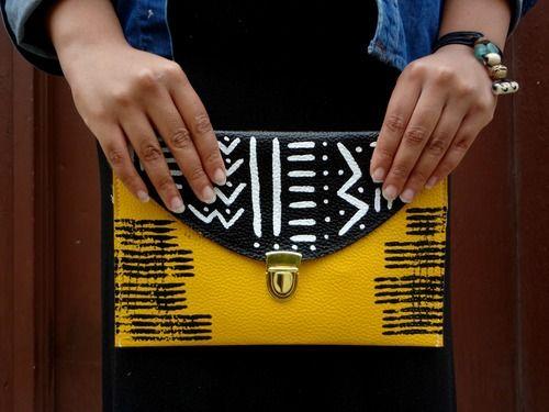 Bogolan Dreams Envelope Clutch Purse/Tablet Case