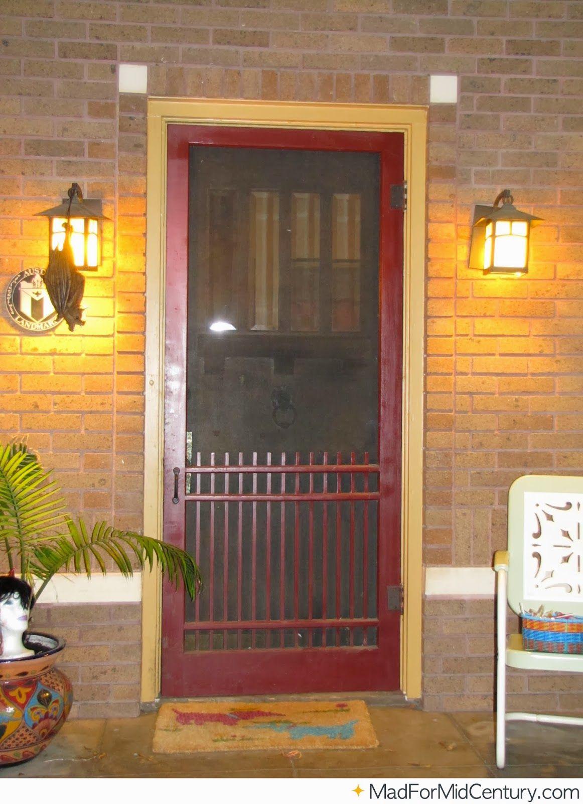Red Vintage Screen Door Mid Century Modern Door Pinterest