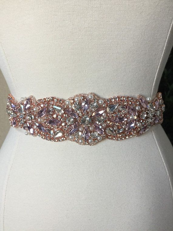 Pink And Rose Gold Bridal Sash Wedding Dress By Bellafleurbridal