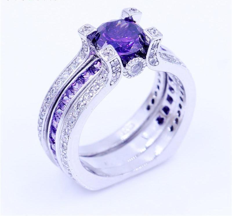 Purple Birthstone Interchangeable Ring Wedding Ring Bands