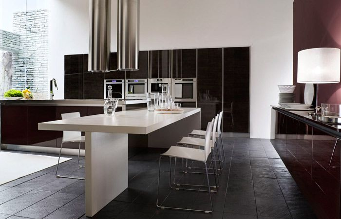 Decorating, Interesting Neoteric Kitchens Black Also White Design Ideas  With White Dinner Table With Black Tile Floor And Interesting Texture Huge  Table ...