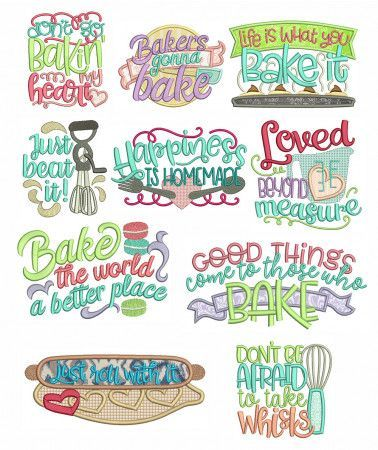 bakers word art machine embroidery designs by juju - Bakers Gonna Bake Kitchen Redwork Embroidery Designs