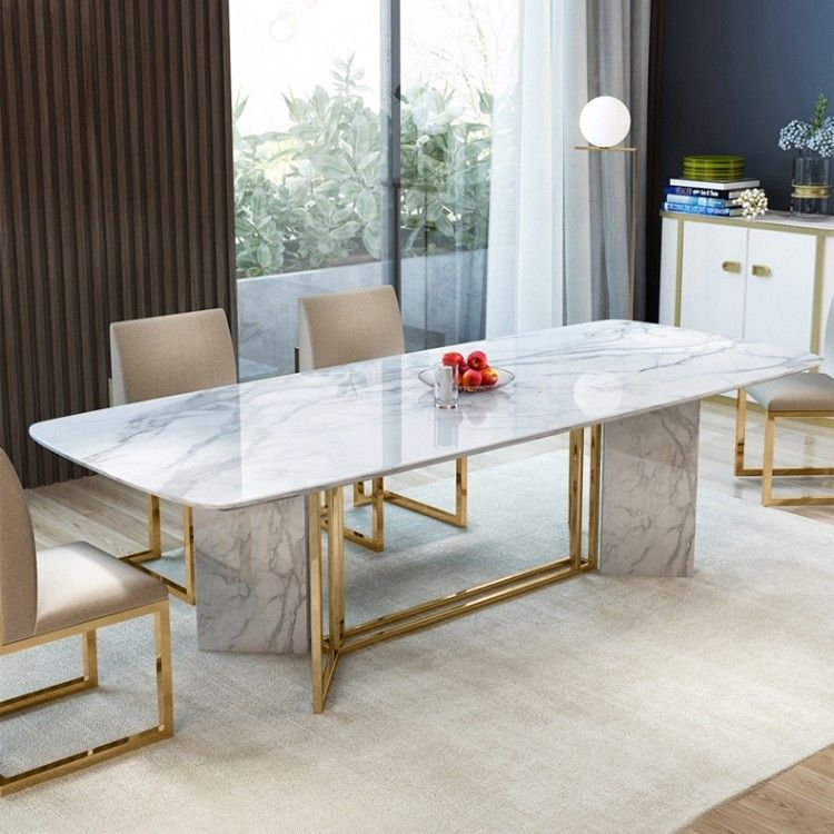 Modern Stylish 63 71 79 White Faux Marble Dining Table Rectangular Table In Brushed Gold Dining Table Marble Dining Room Table Marble Marble Top Dining Table