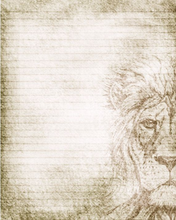 Printable Journal Page, Lion Drawing, Lined Stationery, 8 x 10 JPG