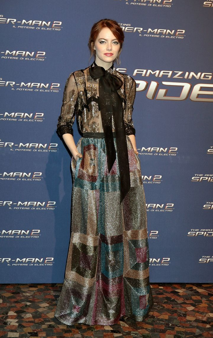 Emma Stone's Best Fashion Moments - The Amazing Spider-Man 2: Rise Of Electron Premiere In Rome, 2014, Emma Wowed in a Sheer Glittery Pussy Bow Gown