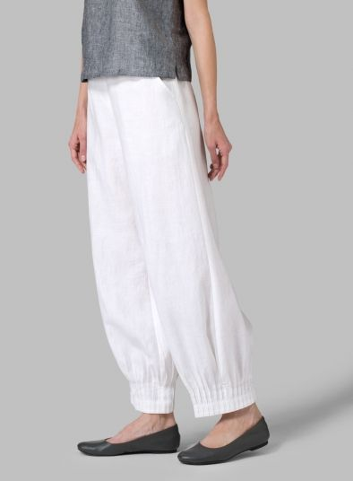 MISSY Clothing - Linen Pleated Cuff Ankle Length Pants