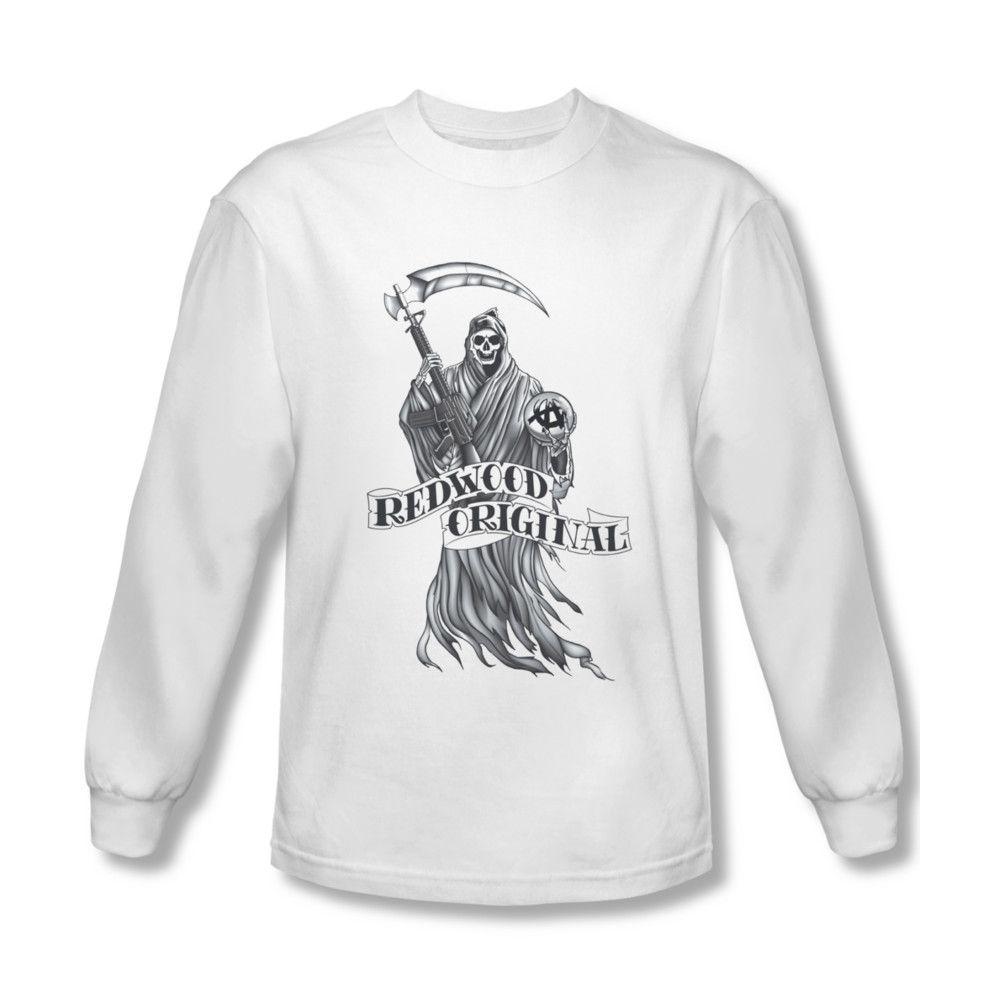 Sons Of Anarchy Shirt Redwood Original Long Sleeve White Tee T Shirt White Long Sleeve Tee Anarchy Shirts Original Shirt