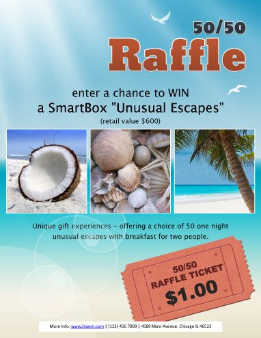 Unusual Escapes Raffle Flyer Template Fundraiser Pinterest