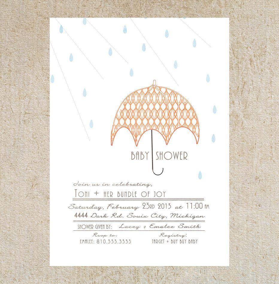 Umbrella Baby Shower Invitation Template. $15.00, via Etsy ...