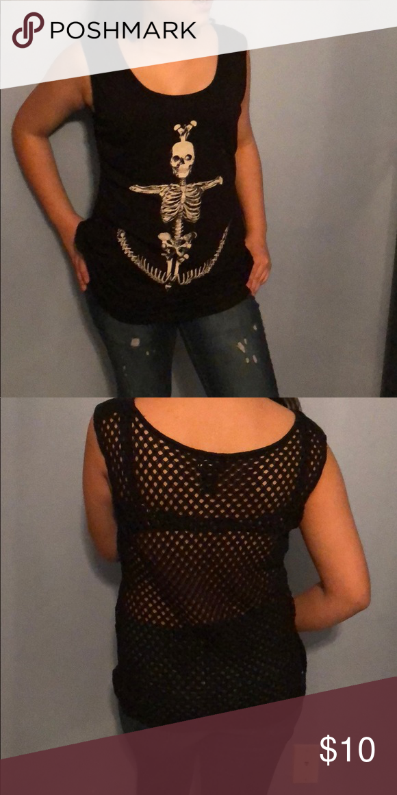 Age Runway Skeleton With Anchor See Thru Back From Hot Topic A Crocheted Andd And On The Front Barely Used