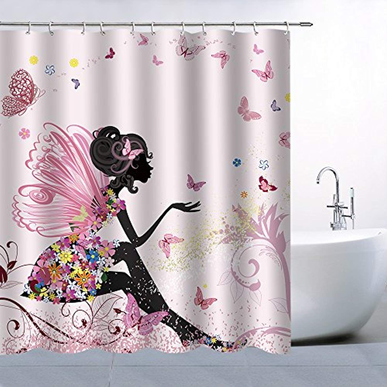 Feierman Pink Butterfly Fairy Shower Curtains Romantic Girl Home