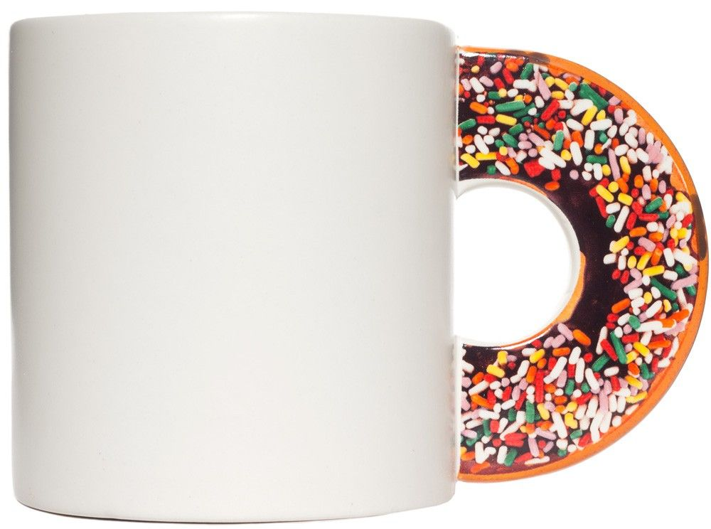 SPRINKLE DONUT COFFEE MUG You will never be without your morning donut when you are sipping your coffee through this donut coffee mug. This off white ceramic mug features a handle that looks like a sprinkled doughnut. So you will be able to drink your coffee and have your doughnut too without getting any sprinkles on your attire. $13.00 #housewares #mug #coffee #donut