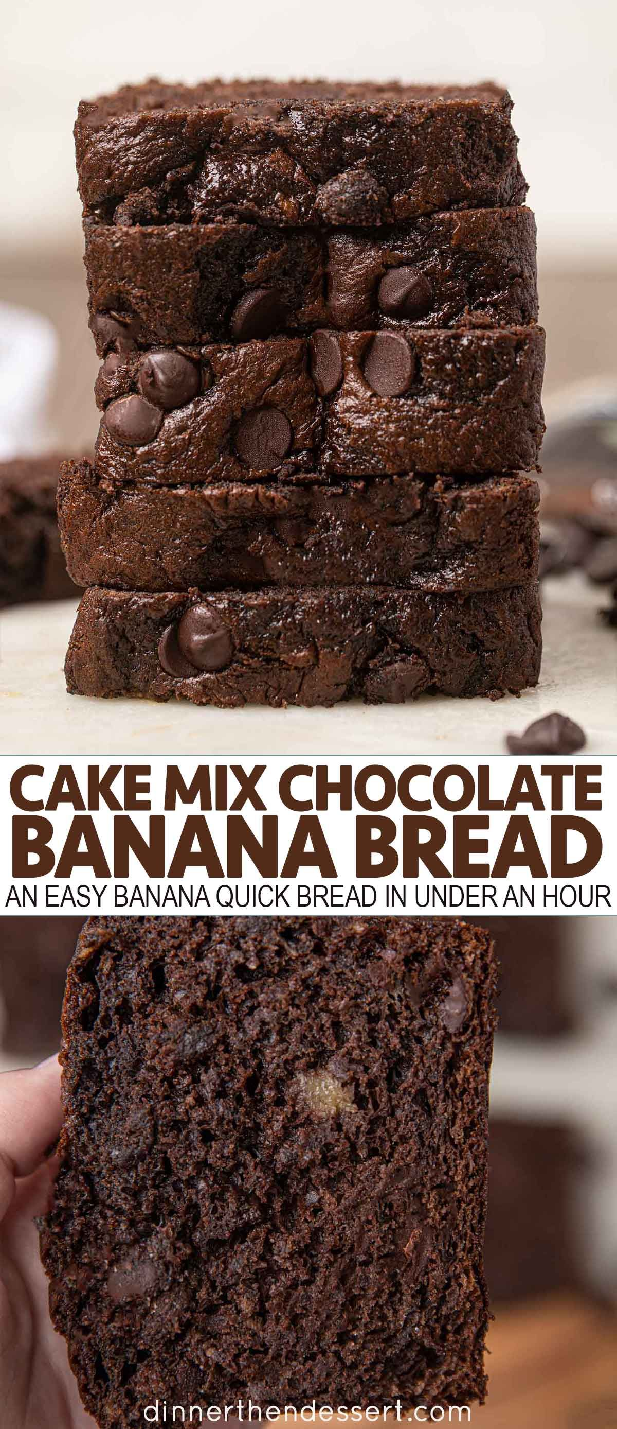 Cake mix chocolate banana bread is an easy banana quick