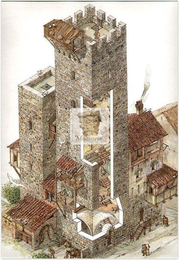 Torre medioevale tipo firenze castelli disegnati for Piani tipo casa castello