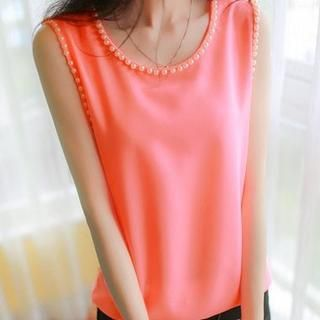 Beaded Sleeveless Top, Orange , One Size - Fashion Street | YESSTYLE