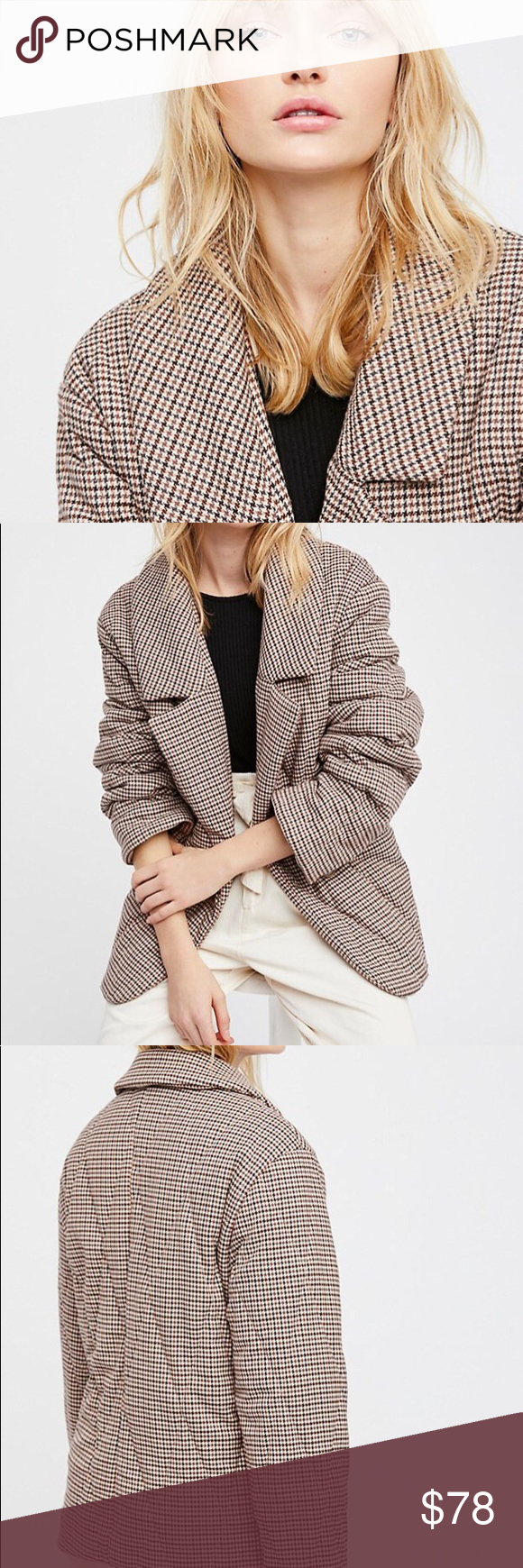 Menswear Pillow Jacket✨ menswear-inspired jacket features an ultra warm design with a puffed pillow shape.  • Simple button closure • Pockets • Lined  *65% Polyester *33% Rayon *2% Spandex *Dry Clean.  New w tags Free People Jackets & Coats Puffers