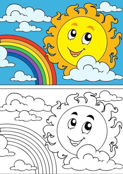 Desenho de sol e arco-iris para colorir | educação especial ...