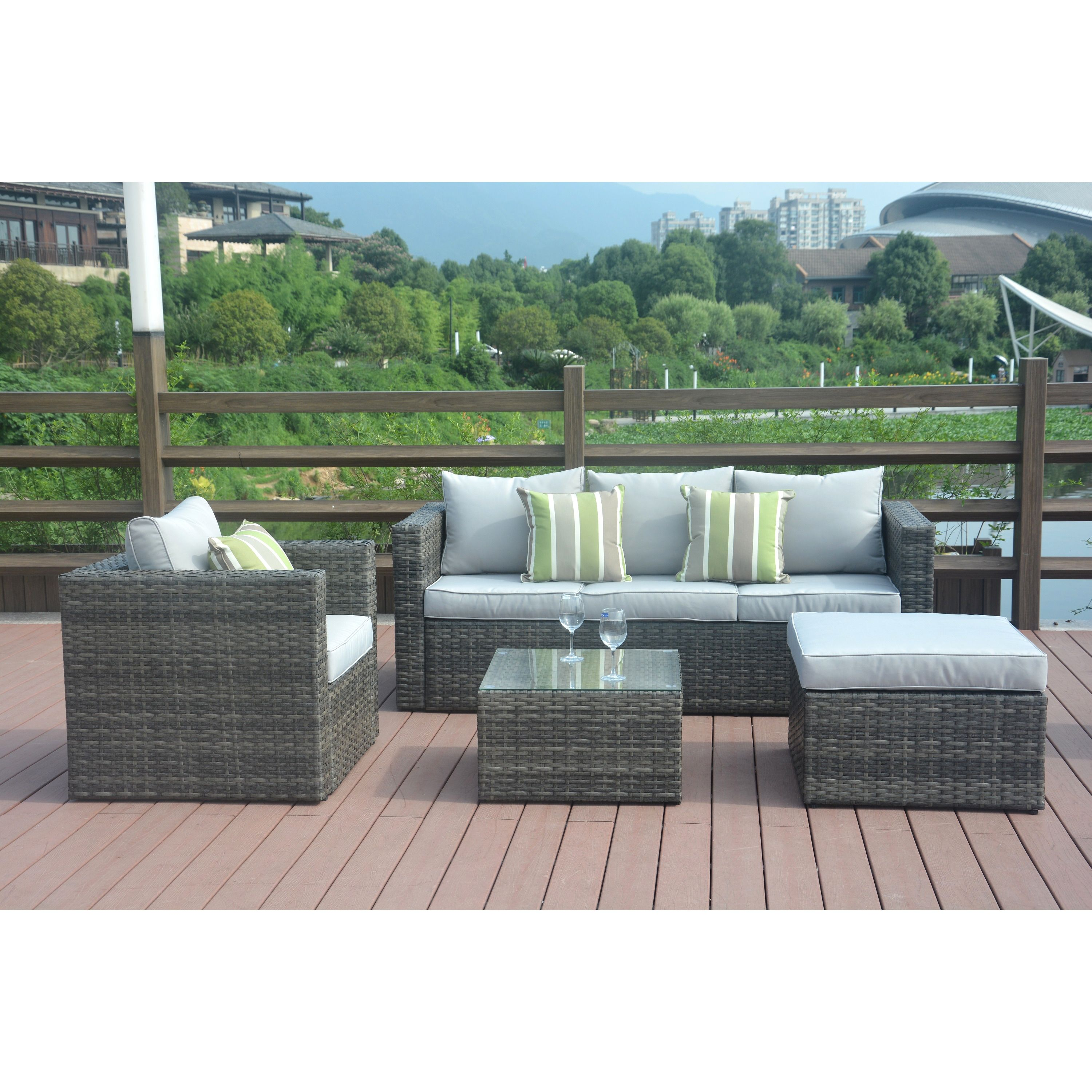 LTD Trudy Outdoor PE Wicker L shaped Sectional 4 piece Sofa Set