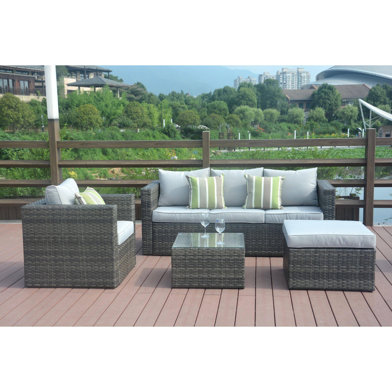LTD Trudy Outdoor PE Wicker L shaped Sectional 4 piece Sofa Set