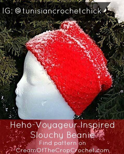 Hého-Voyageur Inspired Slouchy Beanie Pattern ~ Tunisian Crochet ...