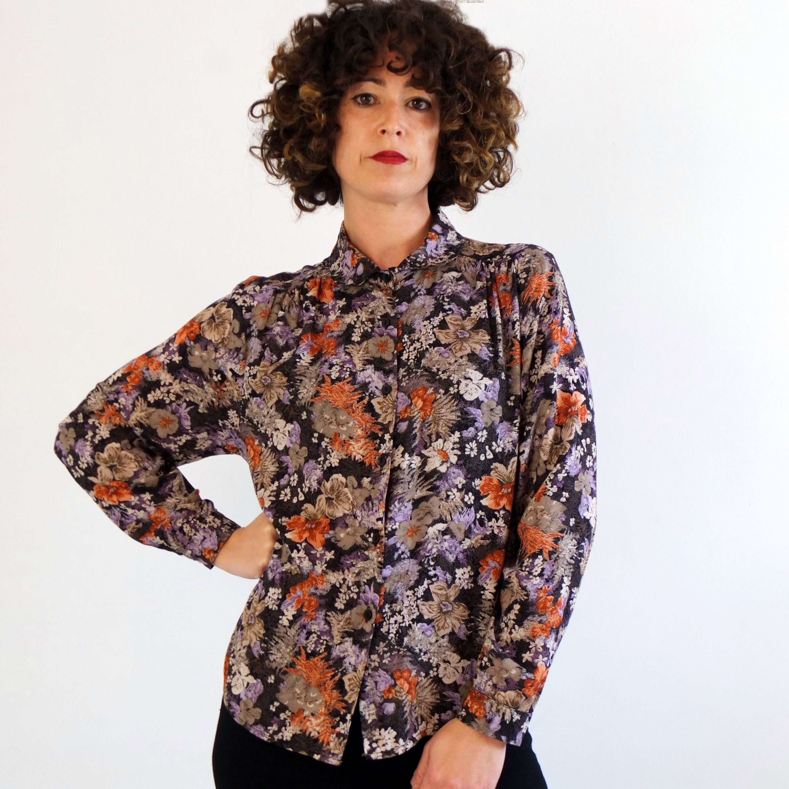 Vintage Hipster Floral Blouse Vintage Black Floral Blouse Vintage Dark Colorful Purple Blouse Women 80s Classic Feminine Blouse S In 2020 Blouse Vintage Black Floral Blouse Blouses For Women