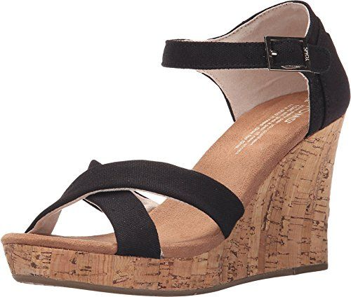 00b8366a56c Toms Strappy Cork Wedges Black Canvas 10007818 Womens 11 -- You can get  more details by clicking on the image.(This is an Amazon affiliate link)