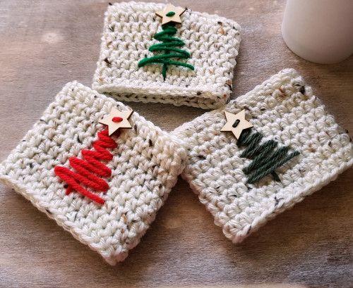 Christmas Tree Cup Cozy Crochet Coffee Cup Cozies Drink Sleeves Koozie #cutecups