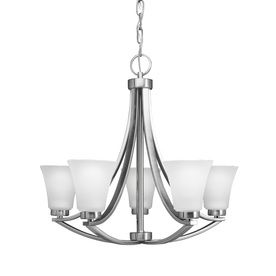 Portfolio Lyndsay 24 In 5 Light Satin Nickel Chandelier Dining Room