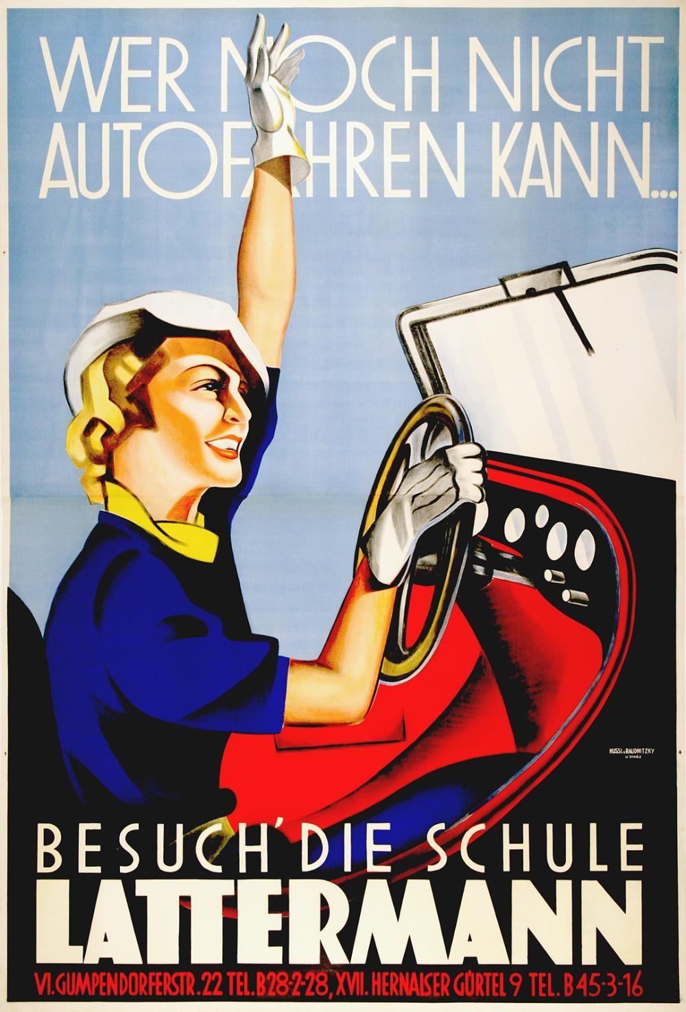 Latterman original austrian driving school poster c1936 by