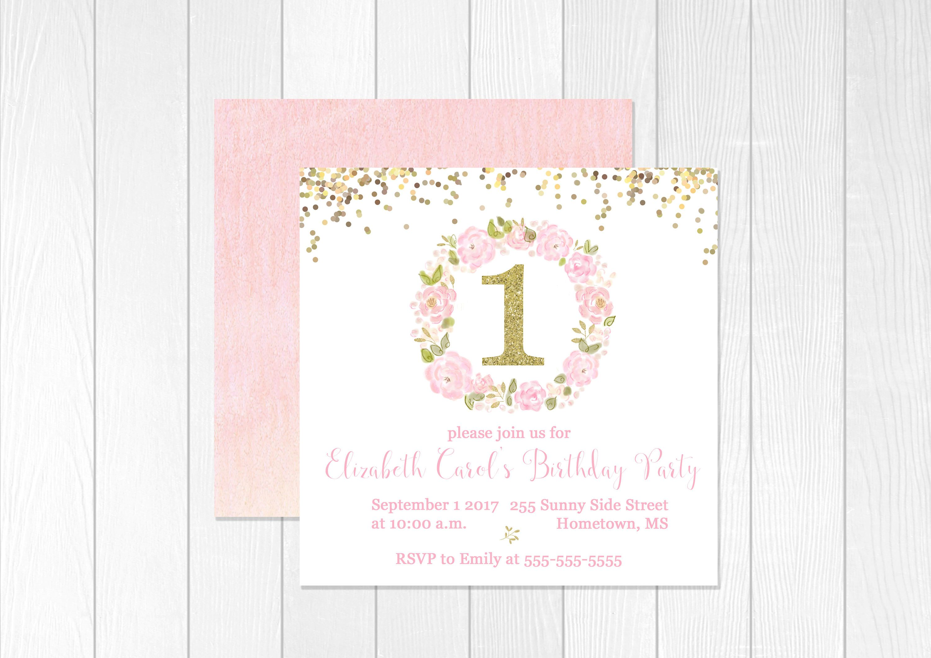 First Birthday Invite Pink and Gold Square Birthday Invitation 1st ...