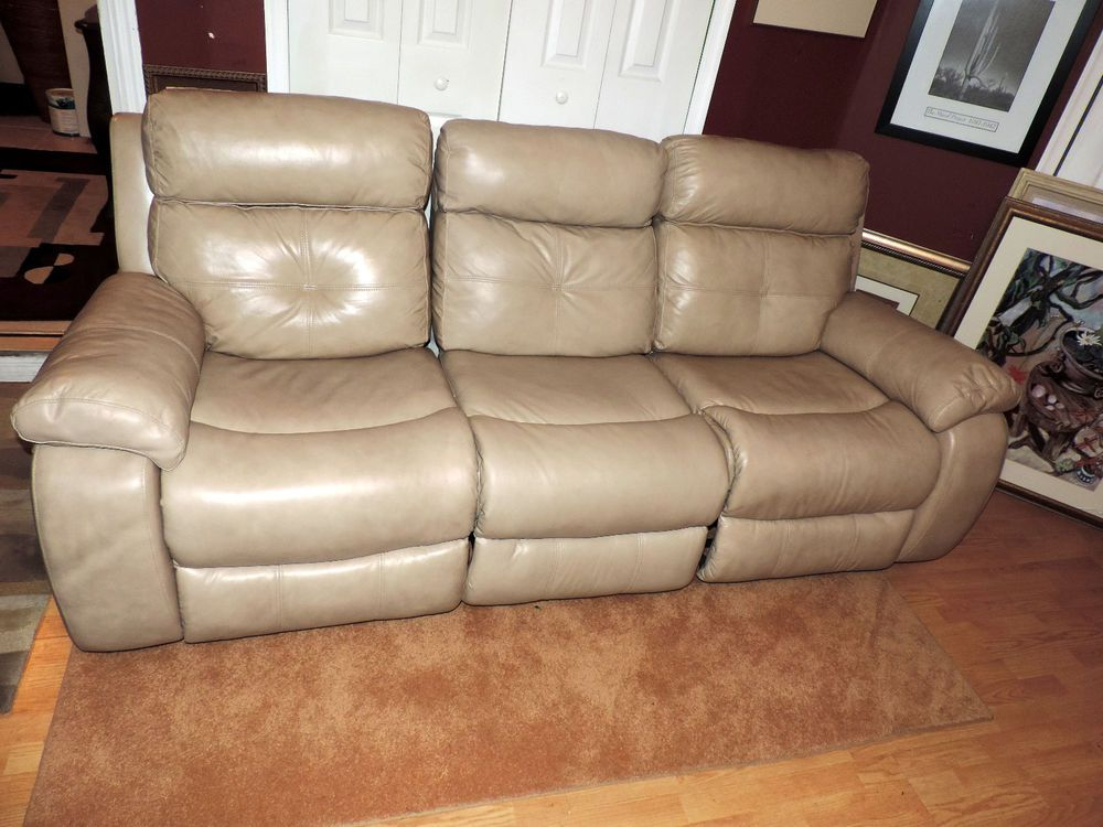 Macy's Taupe Leather Theatre Triple Reclining Sectional Sofa*WE SHIP  ANYWHERE* #Macys #