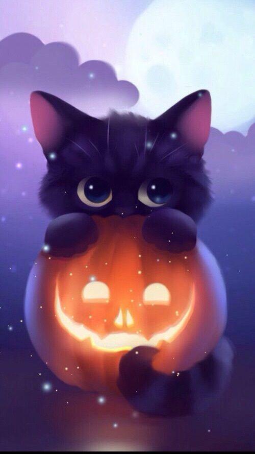 Immagine Di Cat Halloween And Kawaii Con Immagini Sfondi Di Halloween Carta Da Parati Con Animali Gatto Carta Da Parati