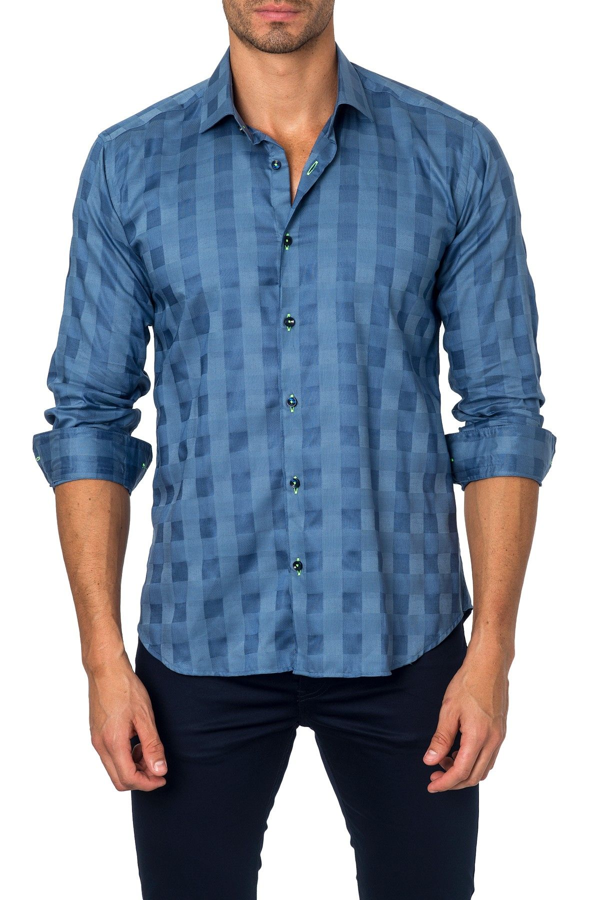Long Sleeve Checked Semi-Fitted Shirt
