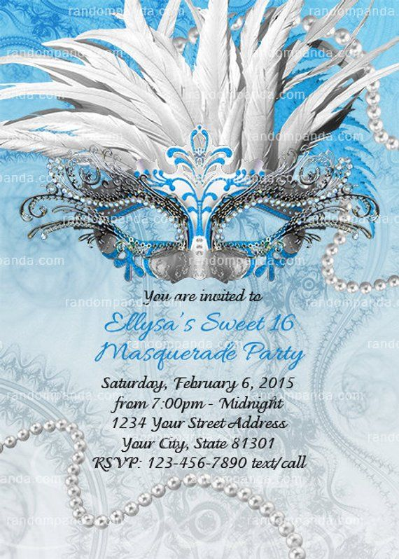 Masquerade Ball Invitation Blue And Silver Sweet 16 Party