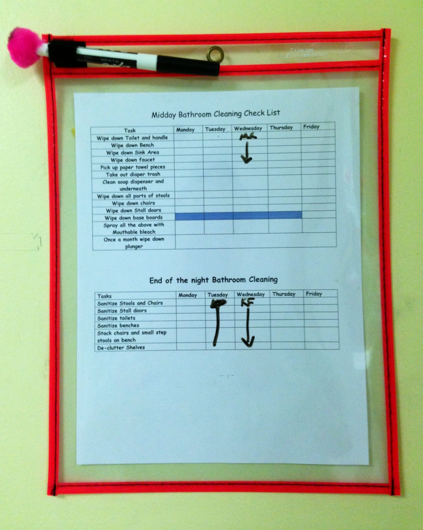 Cleaning checklists hanging in our classrooms, bathrooms