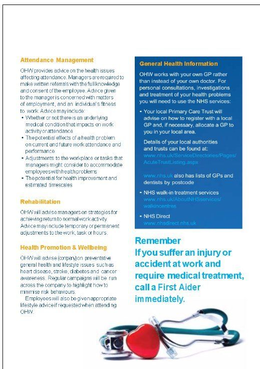 Professional Occupational Health Leaflet  Adapt Template For Your