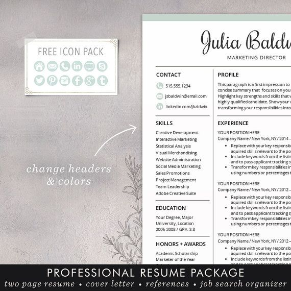 Professional Resume / CV Template, Mac or PC for Word, Creative ...