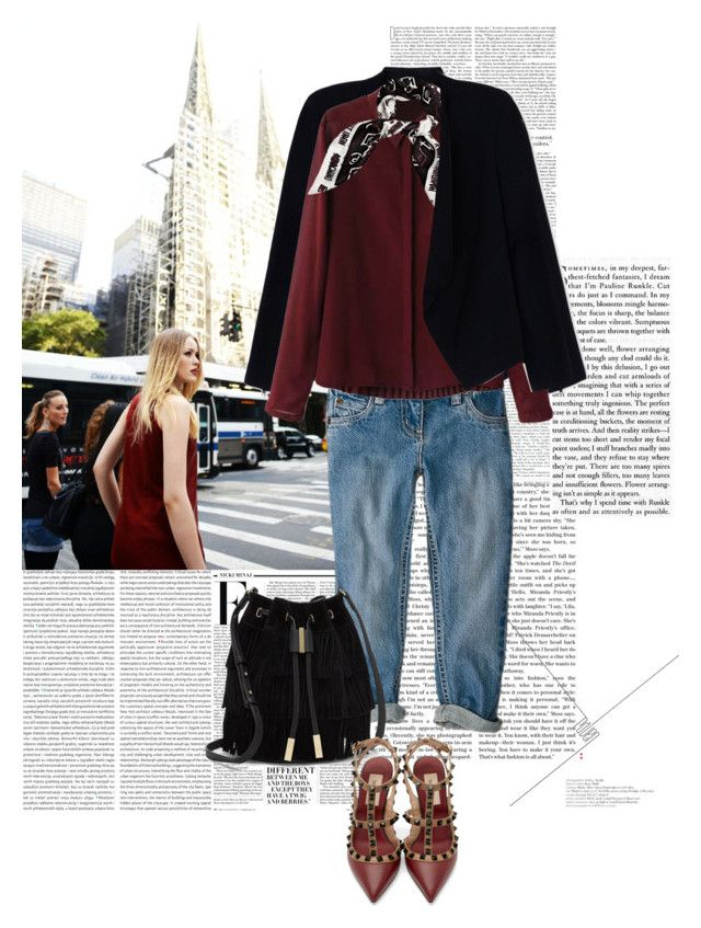 """""""BURGUNDY IN NEW YORK CITY Kayture"""" by marierabier ❤ liked on Polyvore featuring Nicki Minaj, Alice + Olivia, Vince Camuto, Valentino and Moschino"""