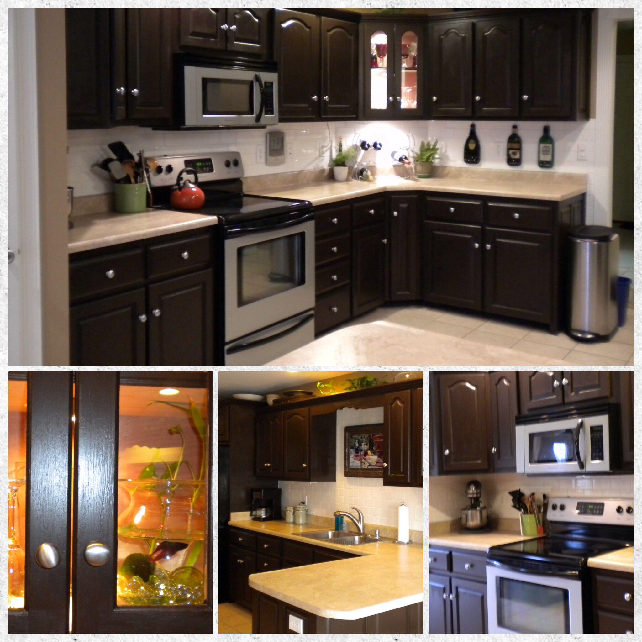 Refinishing Oak Kitchen Cabinets Ideas: My Kitchen Refinished Oak Cabinets Added Subway Tile