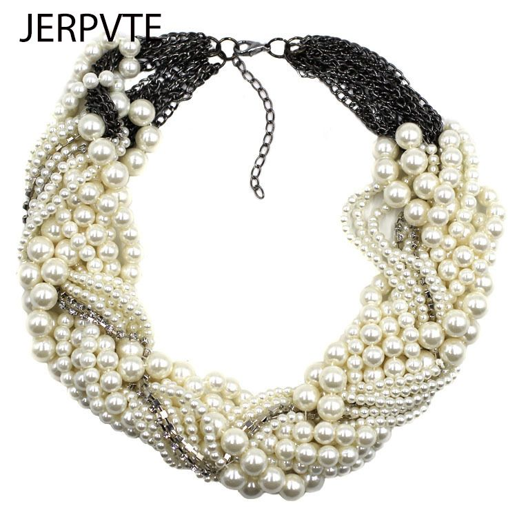 JERPVTE fashion chunky luxury multilayer simulated pearl pendant choker Necklace statement jewelry for women
