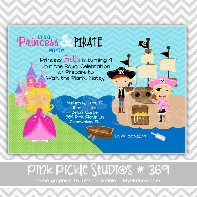 Princess pirate 369 personalized birthday party invitation or princess pirate 369 personalized birthday party invitation or thank you card filmwisefo Choice Image