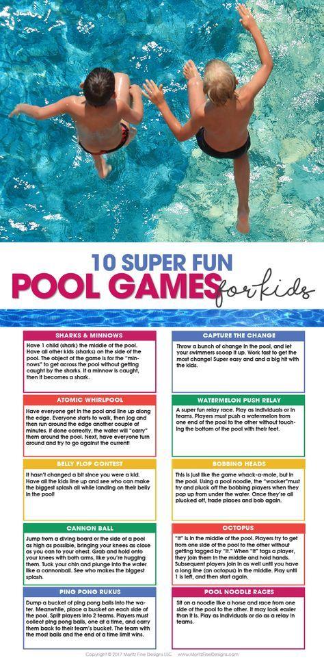 10 Pool Games For Kids Free Printable Summer Fun For Kids Pool Games Pool Games Kids