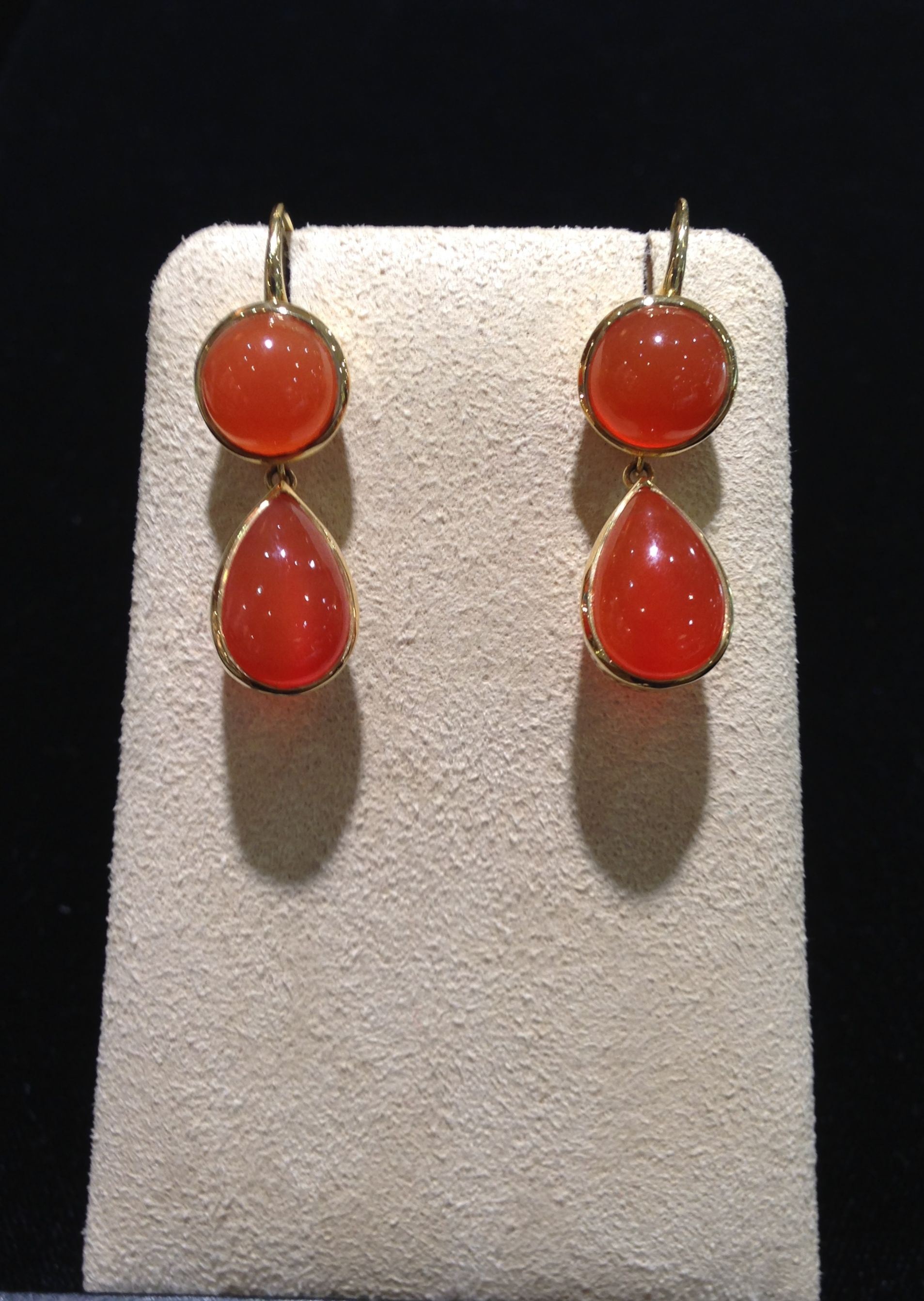 Carnelian drop earrings with crownwork detail in 18k yellow gold by Ray Griffiths.