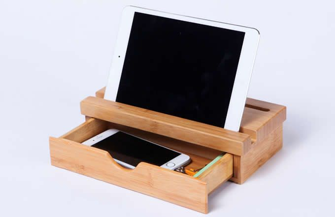 Bamboo Desk Organizer Desktop Caddy With Drawer Holder For All