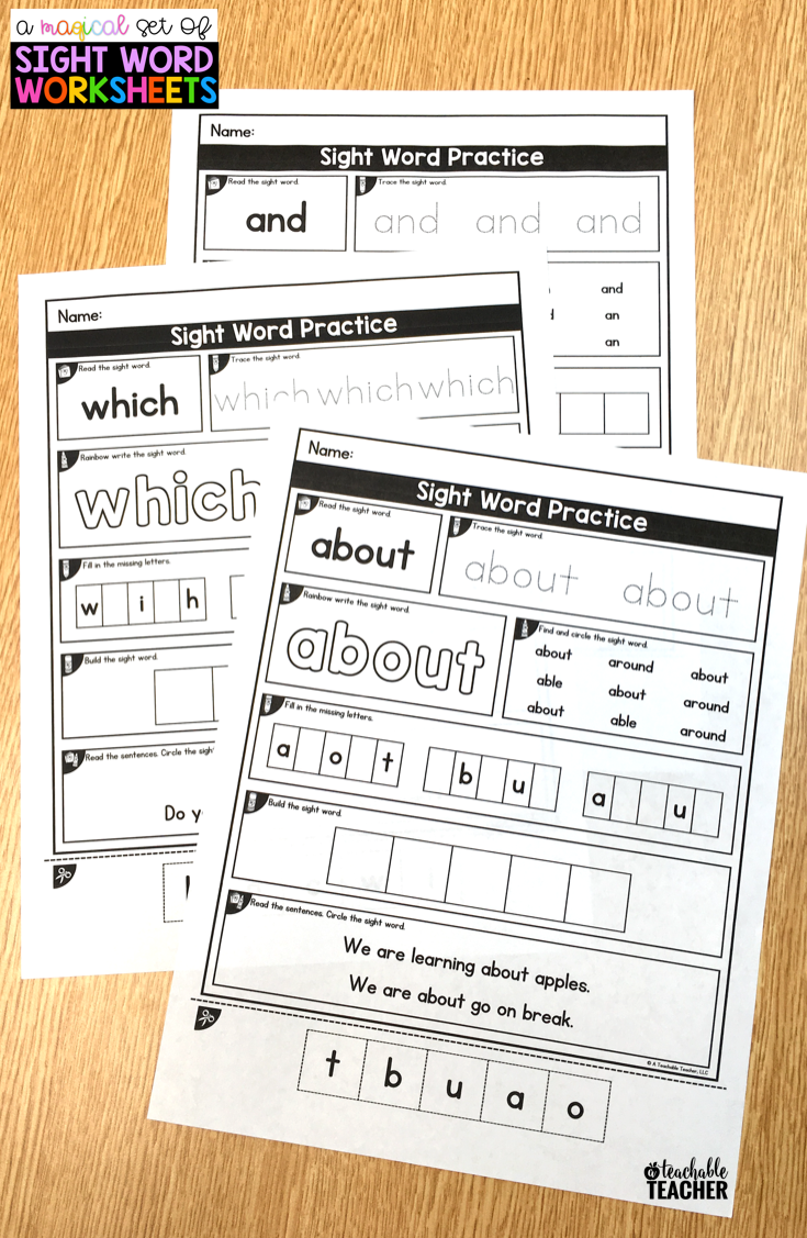 Editable Sight Word Worksheets Sight word worksheets