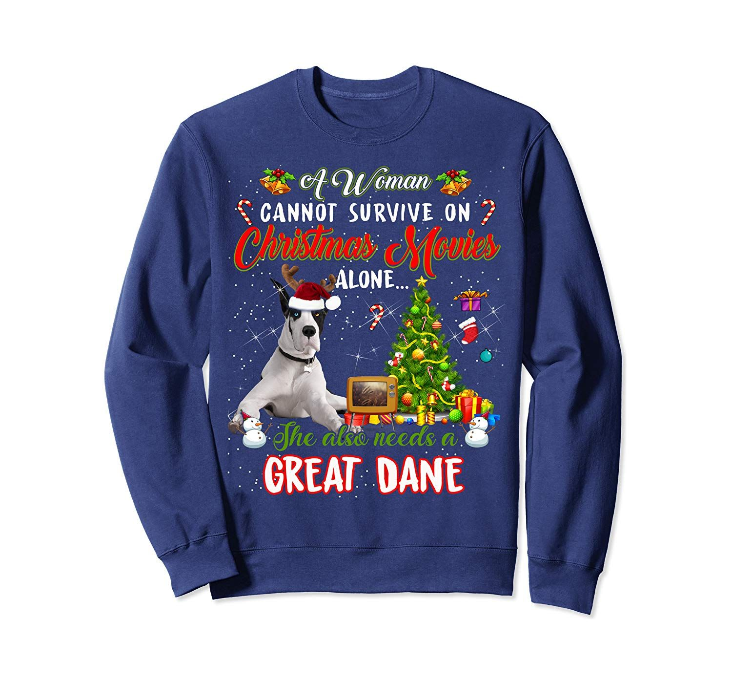 Christmas Movies Alone She Needs A Great Dane Xmas Sweatshirt In