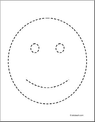 Trace and Color: Happy Face - Trace the picture of the happy face ...