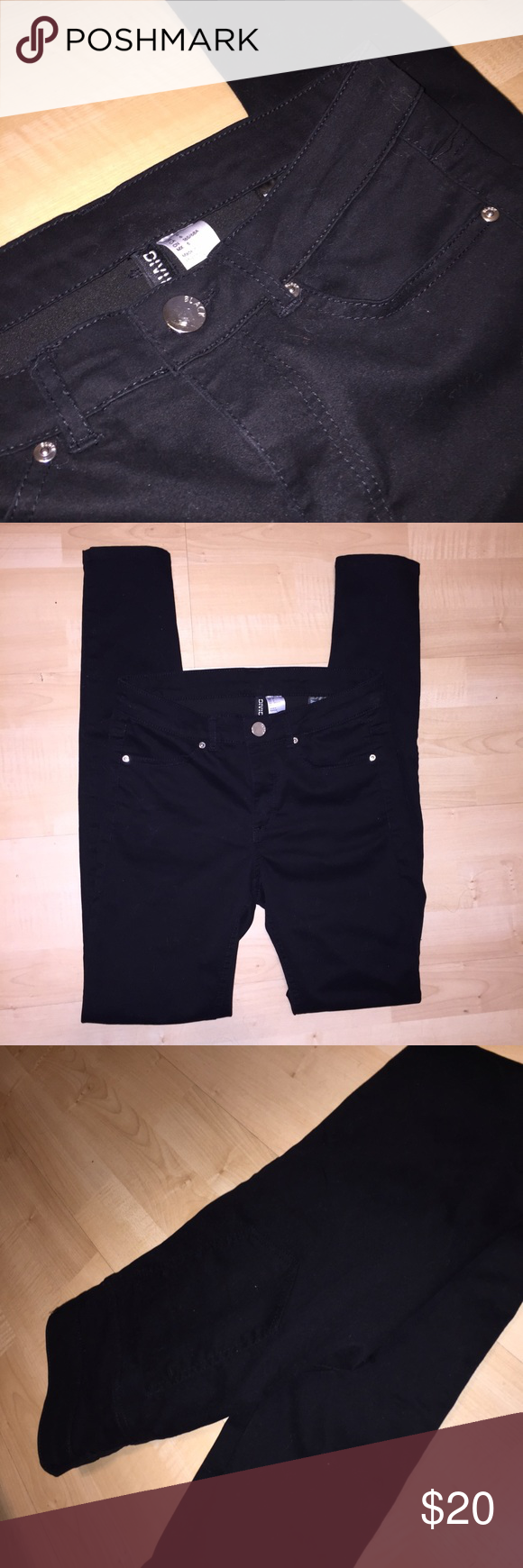 H&M black skinny jeans Like new💕 great quality, super soft, semi stretch. Hugs your body. Grew out of them but they're  in great condition. H&M Pants Skinny