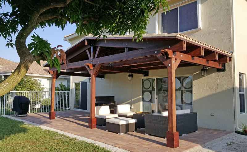 Attached Pavilion Options Del Norte Roof Style 25 L X 12 W Custom Measures Not Recomended For Snowy Areas Red With Images Backyard Pavilion Outdoor Pavilion Pergola