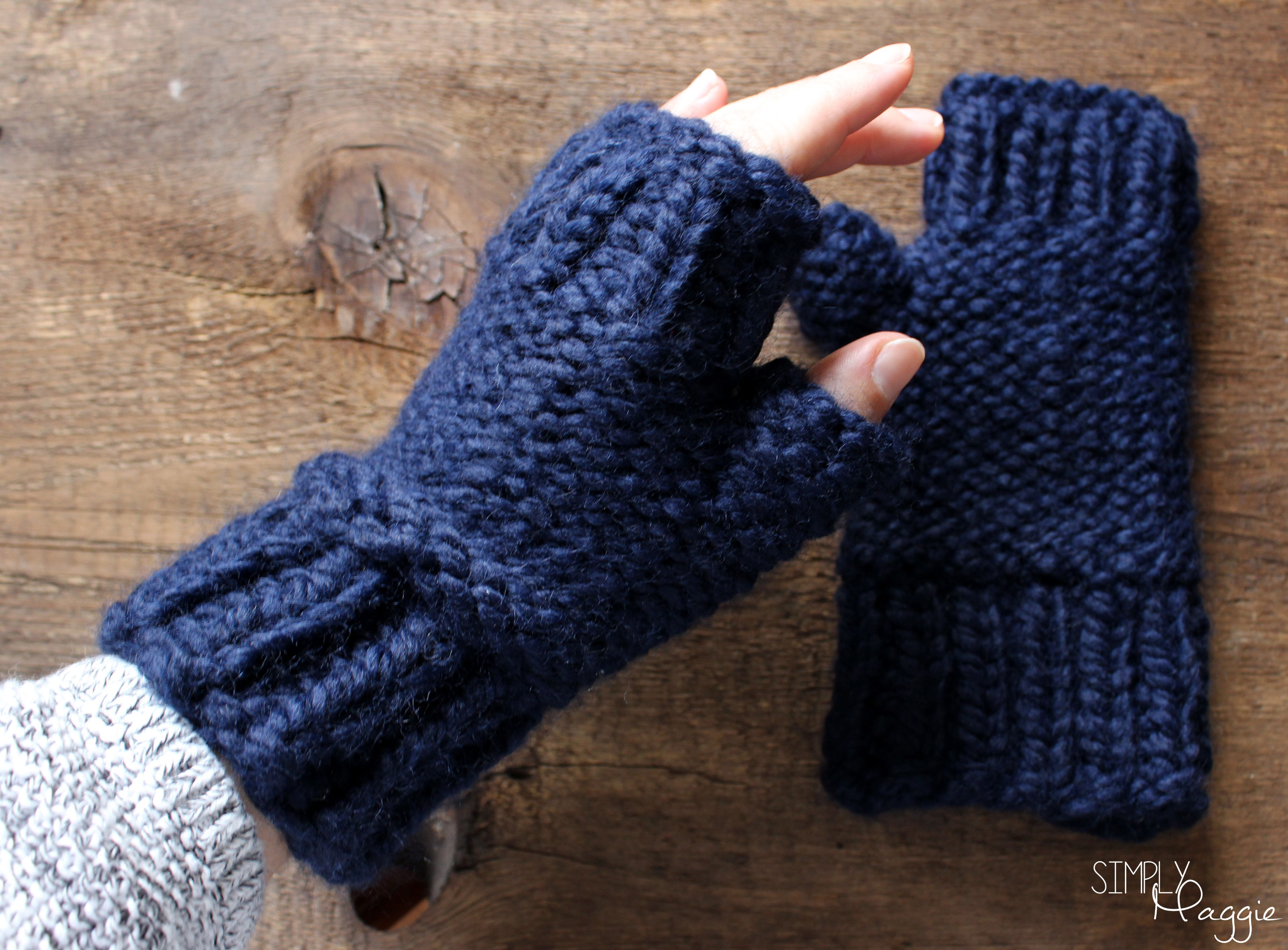 Chunky Knit Fingerless Mittens Pattern (and simple scarf pattern ...